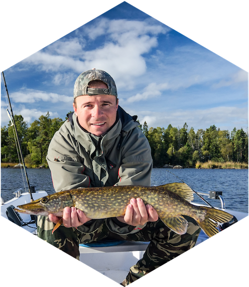 A man uses a fish finder to help catch a northern pike.
