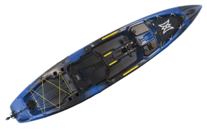 Perception Pescador Pilot 12 pedal kayak in Sonic Camo color combination